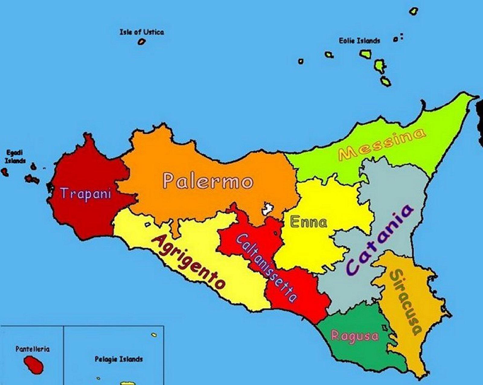 Sicilia Cartina Geografica.Sicilia